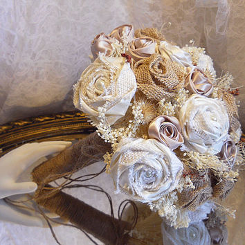 NEW Burlap Bridal Bouquet with Matching Groom Boutonniere. Brown and ivory burlap roses with silk champagne and ivory roses. Ready to Ship!