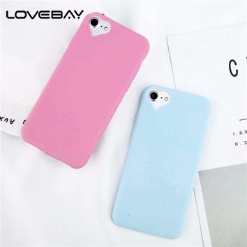 Lovebay Phone Case For iPhone 8 7 6 6s Plus 5 5s SE New Candy Color Loving Heart Thin Ultra Slim Heart Shape Camera For iPhone 8
