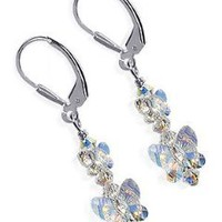 Sterling Silver Bewitch Butterfly Crystal Earrings Made with Swarovski Elements