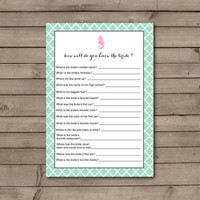 Seahorse Quatrefoil How Well Do You Know the Bride Game