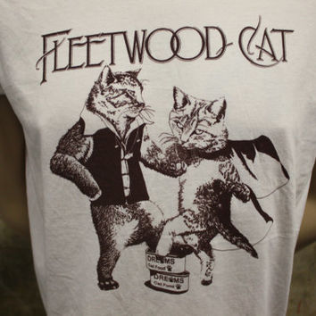 fleetwood cat - fleetwood mac rumours tribute t shirt with kittens - exclusive to us - hand drawn art work limited screenprint run