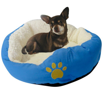 Evelots Small Round Pet Bed, Cats & Dogs Comfortable Soft Warm, Assorted Colors