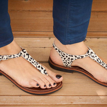 20% Sale, Leather Women Sandals, Animal Print Sandals, Leopard Summer Sandals
