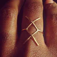 "Statement Rune Ring, ""New Beginnings"" X Rune Forefinger Knuckle or Pinky Ring"