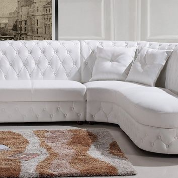 Divani Casa 2818C Modern White Bonded Leather Sectional Sofa