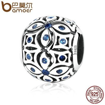 BAMOER 925 Sterling Silver Charms With Blue Crystals S925 Bead Charm fit Bracelets & Bangles for Women Jewelry SCC059