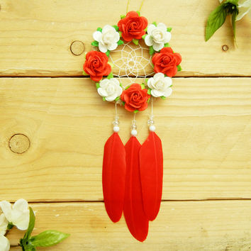 Red and White Flower Car Dreamcatcher: Cute Car Accessory For Women, New Car Gift, Boho Dreamcatcher, Rearview Mirror Accessory, Boho Decor