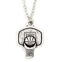 Basketball Hoop Necklace Athletic Ball Charm Sports Pendant NQ56 Silver Tone Fashion Jewelry