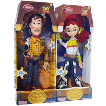 45cm Toy Story 3 Talking singing Woody Jessie Pvc Action Figure Collectible Model Toy Doll Cute Kids Electrified With Voice Toy