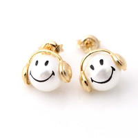 smile headphone stud earrings | girlsluv.it - handmade jewelry collection, ETSY, Artfire, Zibbet, Earrings, Necklace