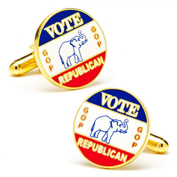 Vintage Style Vote GOP Republican Election Cufflinks