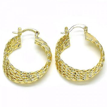 Gold Layered 02.261.0065.25 Small Hoop, Twist Design, Polished Finish, Golden Tone