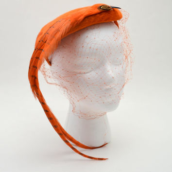Vintage Gene Doris Hat, Bright Orange Felt with a Faux Bird Accent, Long Tail Feathers and Beak, 1950s