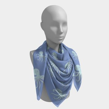 Octopus Square Scarf - Lt Blue on Blue
