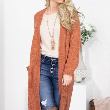 Rusty Orange Pocket Knit Cardigan