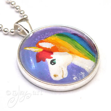 Rainbow Unicorn Pendant For Kids, One of A Kind acrylic painting under glass, NOT a PRINT