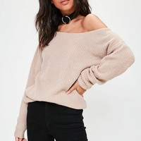 Missguided - Beige Off Shoulder Knitted Jumper
