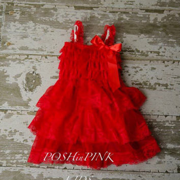 Red girl dress, country, Rustic, red, Christmas lace chiffon girls dress, flower girl, flower girl, birthday, shabby chic, vintage