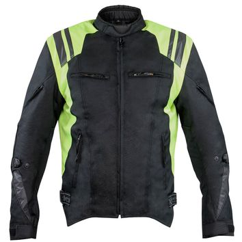Xelement XS32201A Swift Mens Black/Neon Green Tri-Tex Armored Motorcycle Jacket