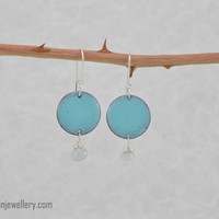 Aqua delight earrings - aquamarine drops, gemstone, kiln fired enamel, handmade, feminine, gift for her, pantone 2016, dainty, silver, fresh