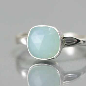 Aqua Chalcedony Ring - Cushion Cut Ring - Bezel Set Ring - Sterling Silver Ring - Gemstone Ring - Stacking Ring - Square Cut Ring