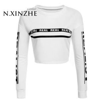 New Women's Fashion T Shirt tops Funny Shirt Casual Round Neck Long Sleeve Drop Shoulder Cropped Pullover Sweats Sweatshirts