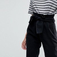 ASOS Paper Bag Waist Boyfriend Jeans with Belt at asos.com