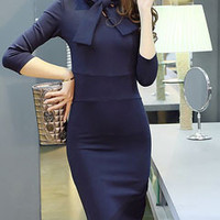 Career Match Solid Stand Collar Long Sleeve Bodycon Elegant Women Dress