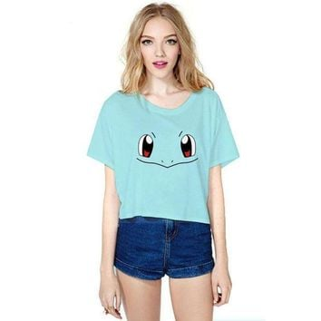 PEAPON New Casual Short T shirts Women Cropped Tops T-shirt Cute Cartoon Cosplay Emoji Smile Crop Top Shirts Fashion Funny Lady Tops