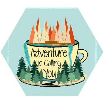 Adventure is Calling Hex Wall Decal
