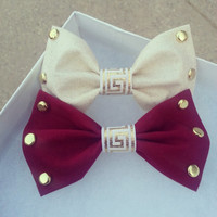 Any Hair bow of your choice for only $4.99 - Maroon and Cream Studded Hair Bows (Clip on) French Barrette