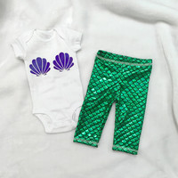 baby mermaid outfit Onesuits green scales leggings pants Onesuit top tshirt baby stretch knit Ariel inspired green mermaid purple shells vinyl