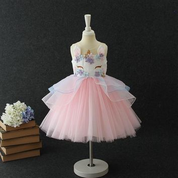 Lovely Kids Unicorn Dress for Girls Embroidery Flower Ball Gown Baby Girl Princess Dresses for Party Costumes vestido unicornio