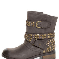 Dirty Laundry Showstopper Brown Studded Motorcycle Boots - $75.00
