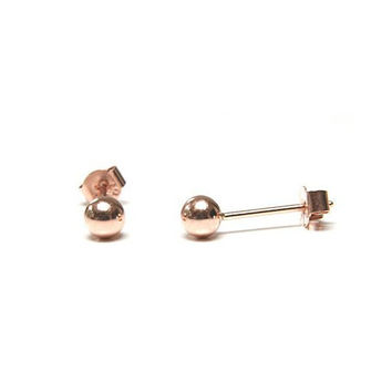 14k Gold Filled Classic rose gold tiny ball studs earrings high polished minimalist circle round mirror shiny tiny pure pink dainty cute