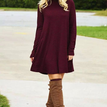Winter Dress Red Long Sleeve One Piece Dress = 5825595329