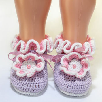 Hand crocheted Baby Booties / Lilac Pink Baby Booties / Lilac with Pink / gift under 20