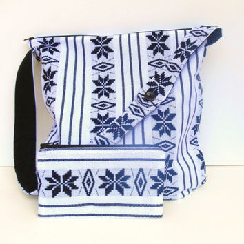 Large Purse, White and Black Mexican Fabric, Aztec Fabric, Tribal Pattern, Shoulder Bag, Small Matching Zippered Pouch