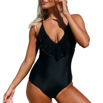 Black Lace Ruffle One Piece Swimsuit LAVELIQ