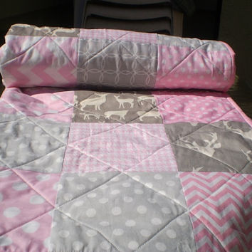 Baby quilt,Baby girl bedding,baby girl quilt,pink,grey,deer baby quilt,woodland baby quilt,deer,stag,organic,chevron,toddler,Rustic in Pink