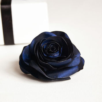 Navy Blue Hair Clip Rose Flower For Bridesmaid Wedding