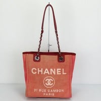Used Chanel Deauville A66939 Women's Canvas Tote Bag Red 1423