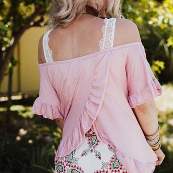 Solar Ruffle Off The Shoulder Top - Pink