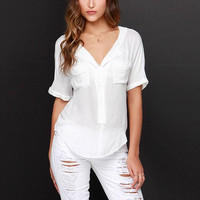 White V-Neck Sleeve With Pockets Chiffon Blouse
