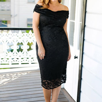 Black Lace Decolette Sheath Dress