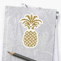 'Sparkly Gold Pineapple' Sticker by Designs111