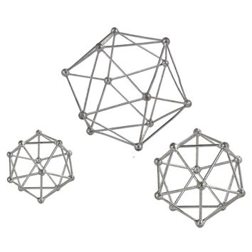 Vitale Silver Geometric Sculptures - Set of 3 by Uttermost