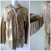 60s Tan FRINGE Leather Jacket Vintage Hippie Bohemian Coat Size S/M Small Medium Mens Womens Festival Boho Outerwear 1960s Western Hippy