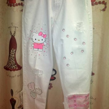 White Hello Kitty Calvin Klein Hand painted and Embellished Jeans