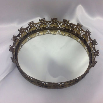 "Small 9"" Round Mirror, Bells Bow Centerpiece Circle,  Filligree Vanity Mirror, Housewarming Gift for Mom, Boss gift, Aunt, Grandmother,"